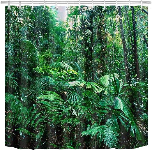 Green Palm Jungle Bathroom Decor Waterproof Fabric Shower Curtain Mat W//12 Hooks