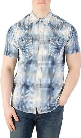 Levis Hombre Camisa de manga corta Barstow Western, Azul, Small ...