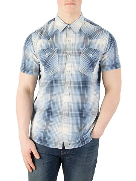 Levis Hombre Camisa de manga corta Barstow Western, Azul, Small: Amazon.es: Ropa y accesorios