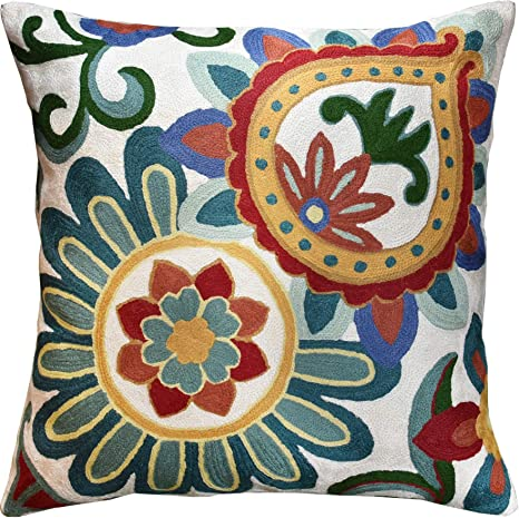 Gorgeous Bold Red and Green and Chocolate on Ivory Floral AccentThrow Pillow