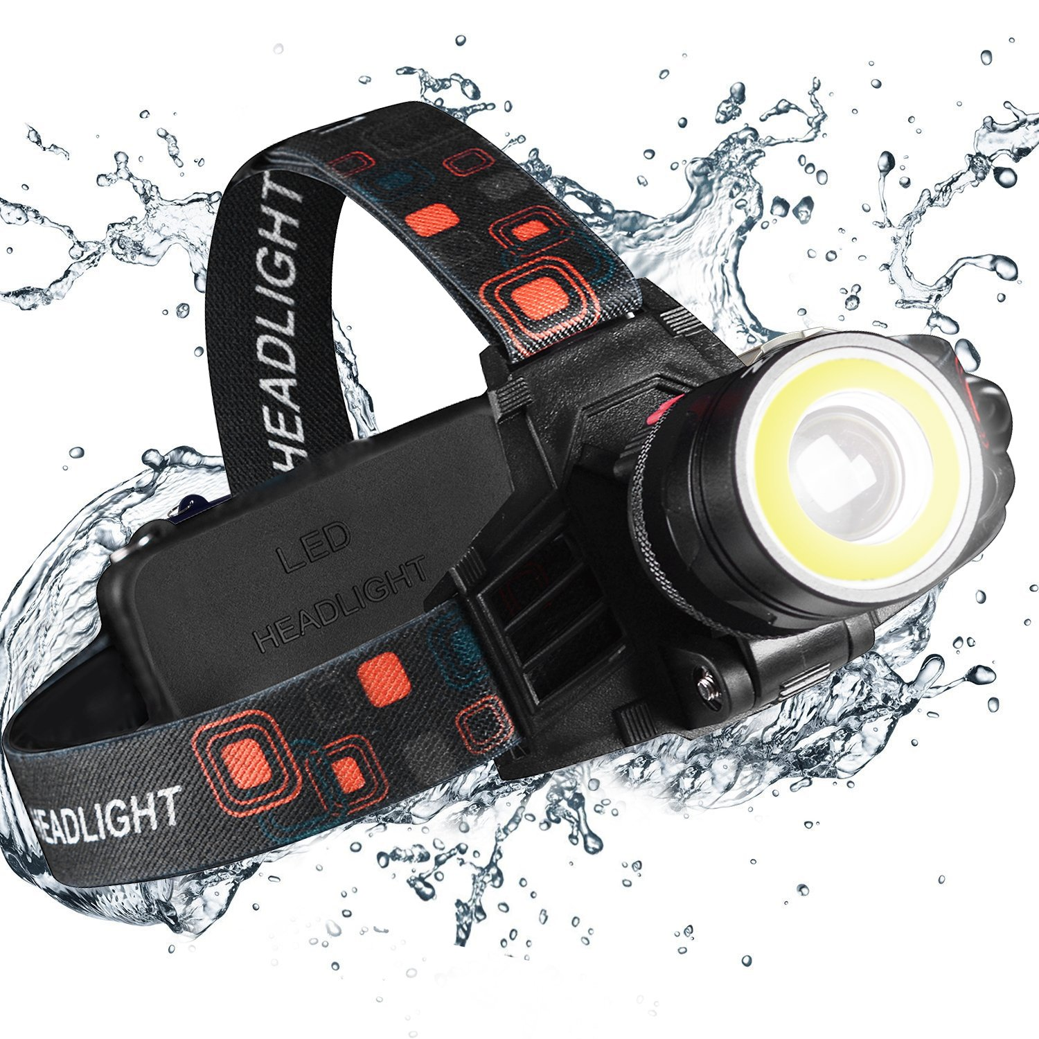 Led Headlamps Flashlight-2 Function Merge 6000 lumen xtreme Bright 9oz/Waterproof/Zoomable/18650 Rechargeable/Work Head Light for Construction Electrician DIY& Outdoor Camping