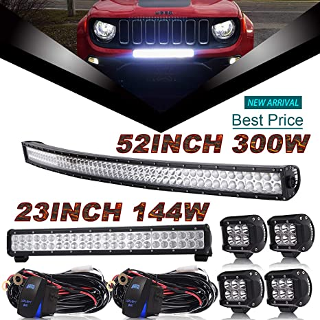 Dot 52inch Curved Led Light Bar Combo 23inch Led Light Bar 4pcs 4inch Led Lights W Rocker Switch Wiring Harness For Trailer Boat Suv Atv Jeep