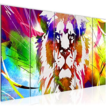 Bild Bilder Wandbild XXL Kunstdruck Leinwand aus Vlies Wohnung Bunter Löwe