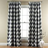Lush Decor Chevron Room Darkening Window Curtain Panel, 84 inch x 52 inch, Gray, Set of 2