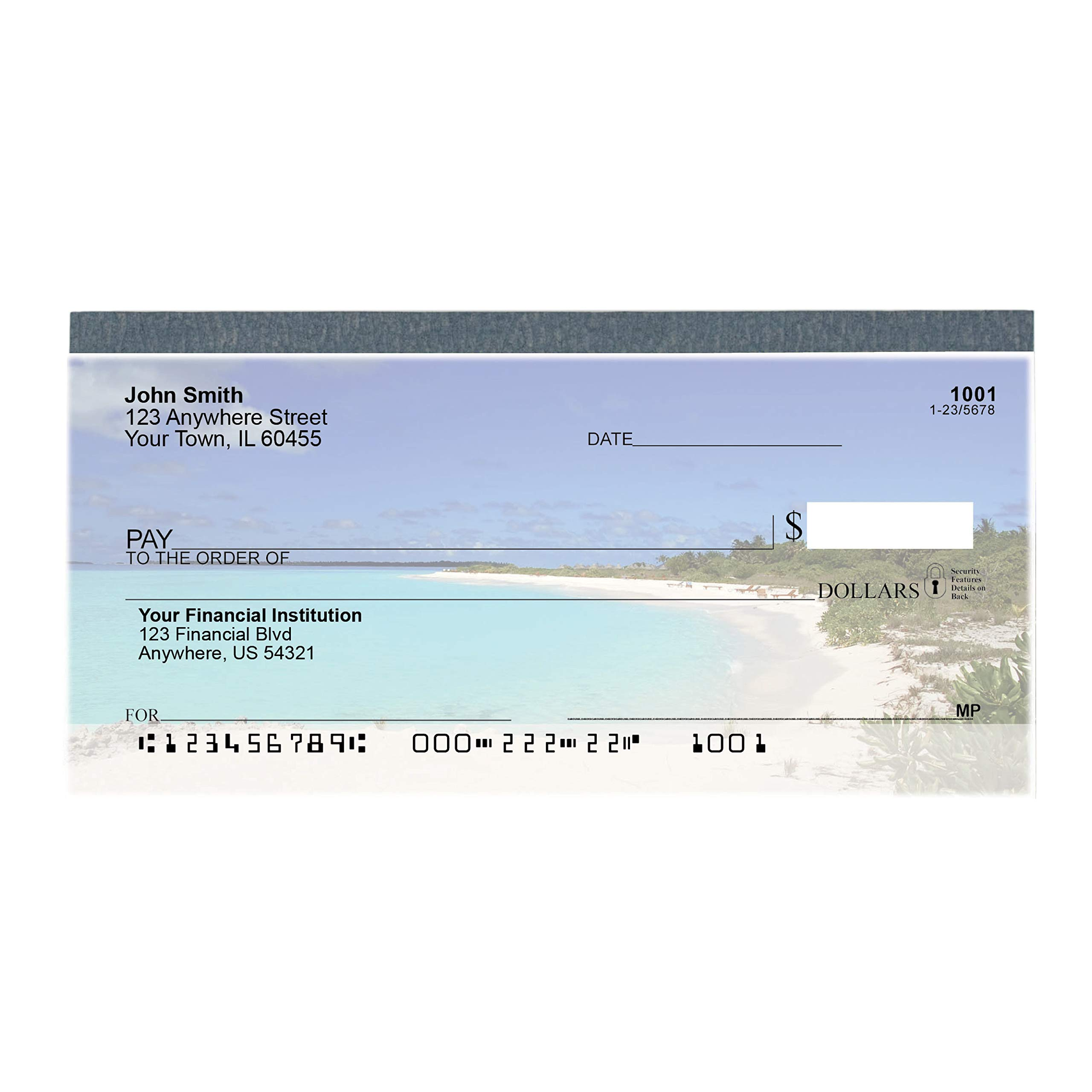 Beach Getaway Top Tear Value Priced Personal Checks (4 Boxes of Singles, Qty. 500) by CAROUSELCHECKS