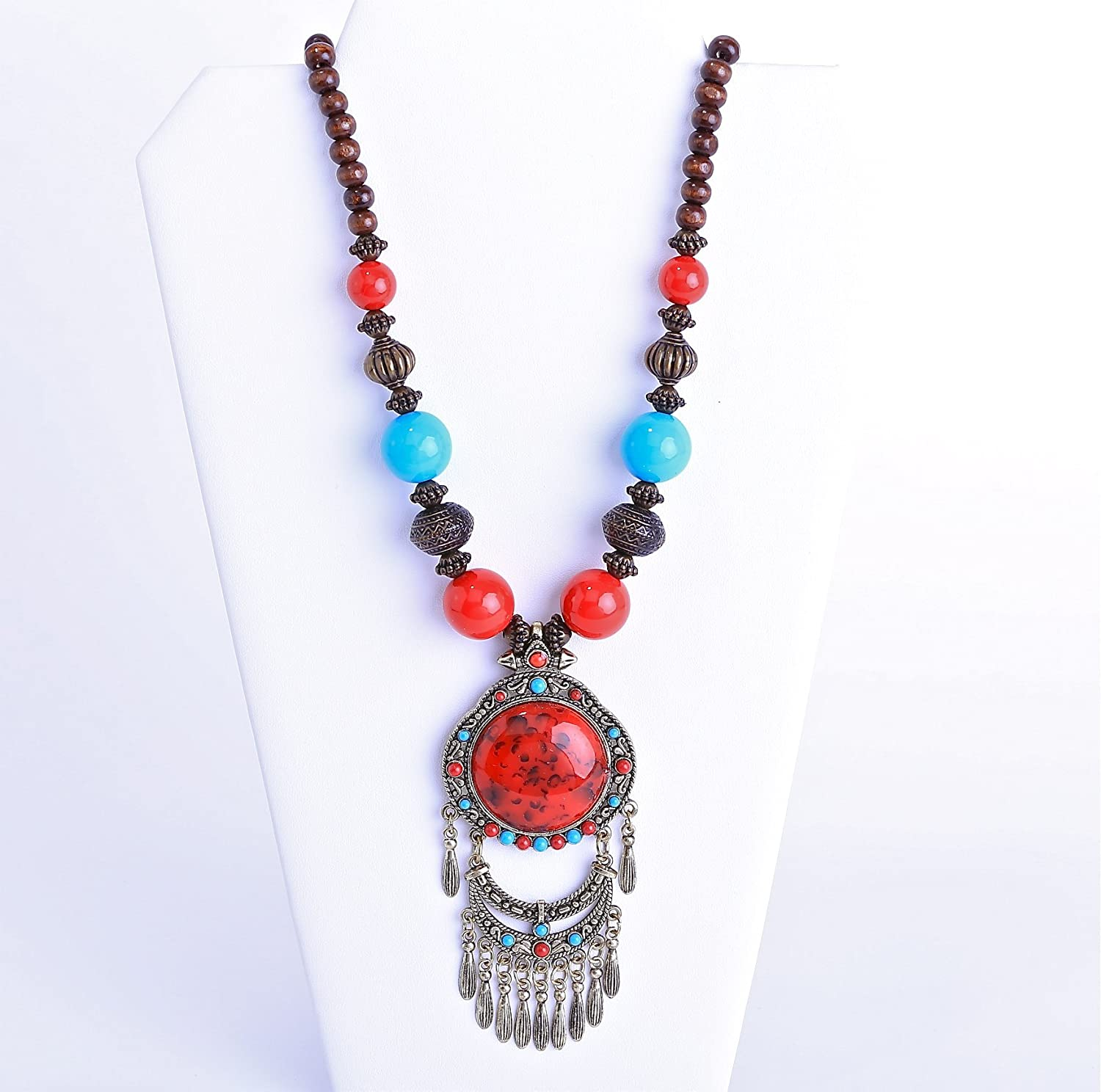 turquoise necklacereds Stone NecklacesMulti color beads NecklacesSterling Silver Beads Handmade in USA
