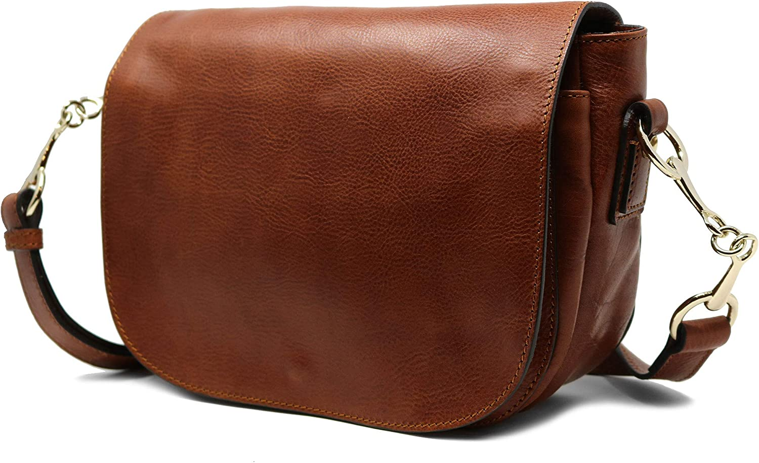 Floto Women's Roma Saddle Bag in Brown Italian Calfskin Leather - handbag shoulder bag