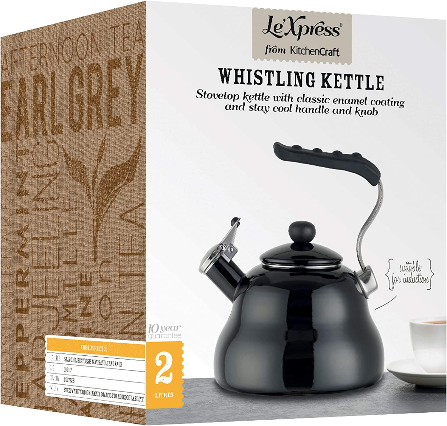 Le'Xpress Black Whistling Kettle - 2 Litres