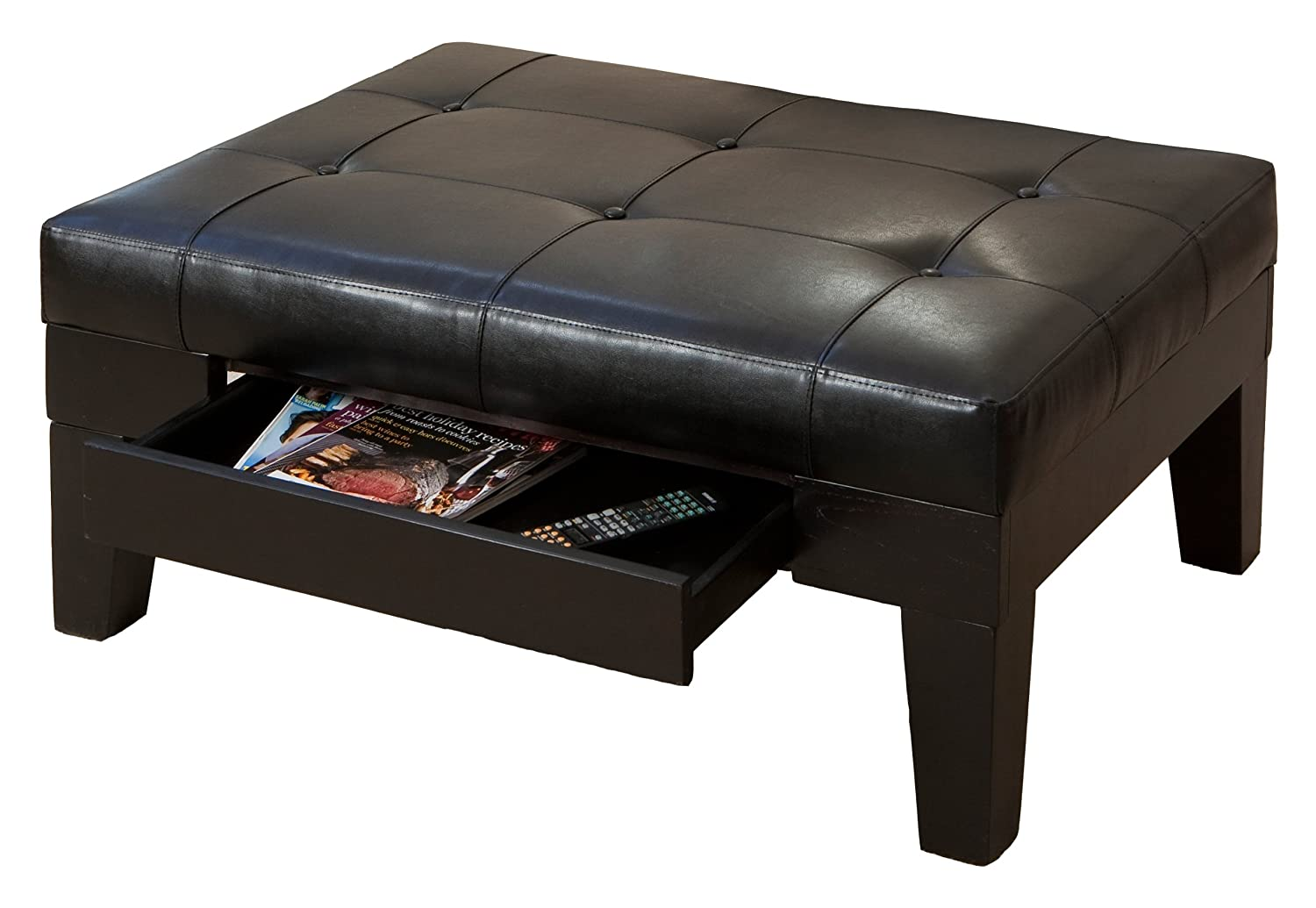 Lovely Amazon.com: Best Selling Chatham Leather Storage Ottoman, Black: Kitchen U0026  Dining