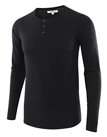 9a6ed9a5 HARBETH Men's Casual Long Sleeve Henley Shirt Raglan Fit Baseball T-Shirts  Tee Black S