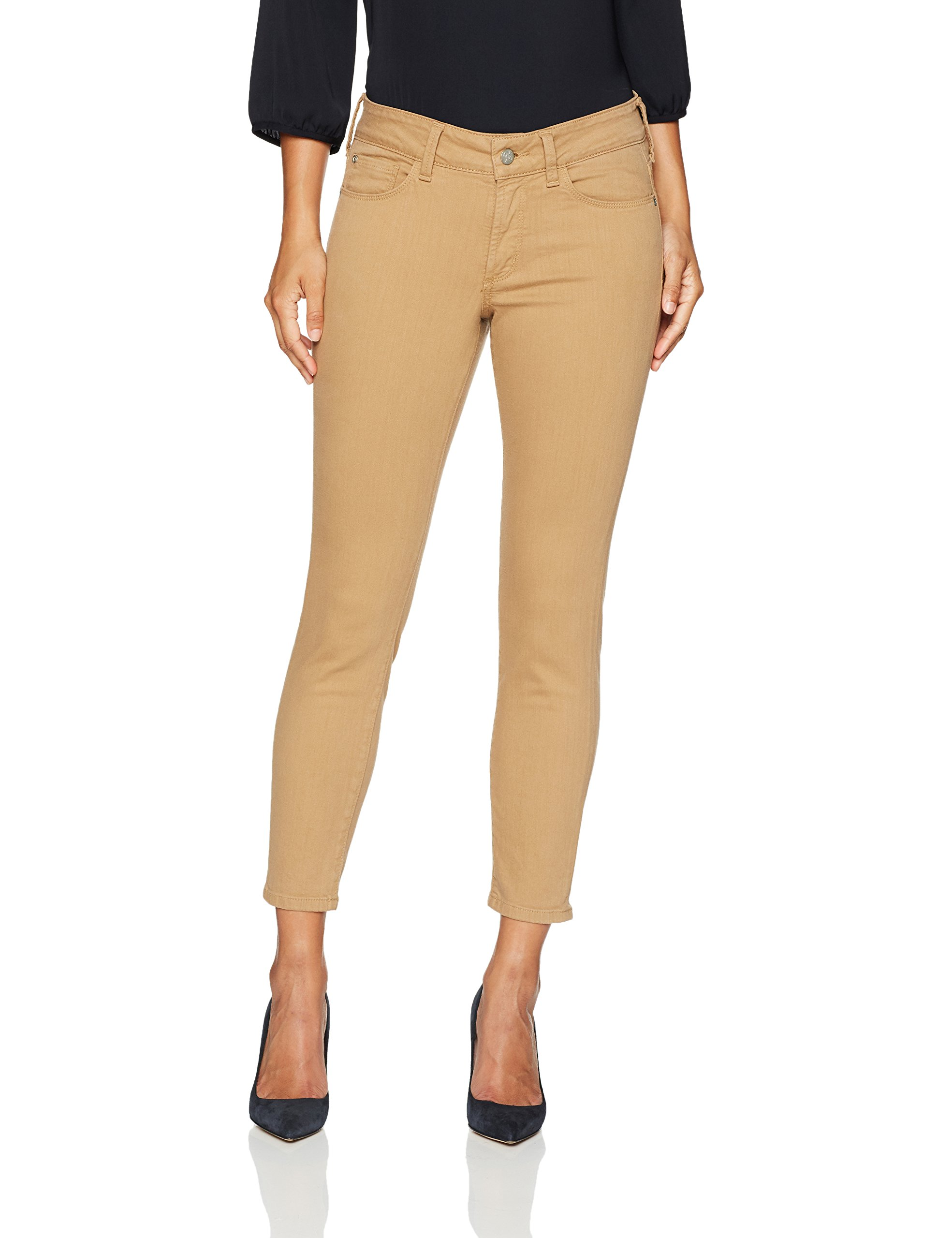 NYDJ Women's Petite Size Alina Skinny Convertible Ankle Jeans, Sepia, 8P