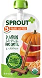 Sprout Organic Baby Food Pouches, Stage 3 Sprout Baby Food, Pumpkin Apple Red Lentil with Cinnamon, 4 Ounce, 12 Count