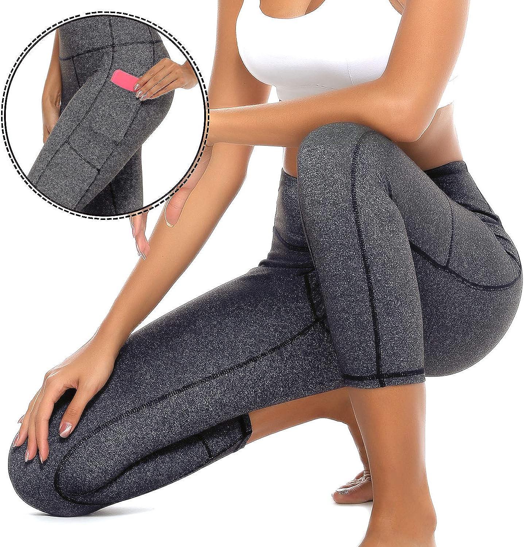 GRAT.UNIC Leggings Sportivi Donna,Donna Capri Leggings con tasche laterali,Maglia Eleganti Leggings Sport,Allenamento Opaco Yoga Fitness