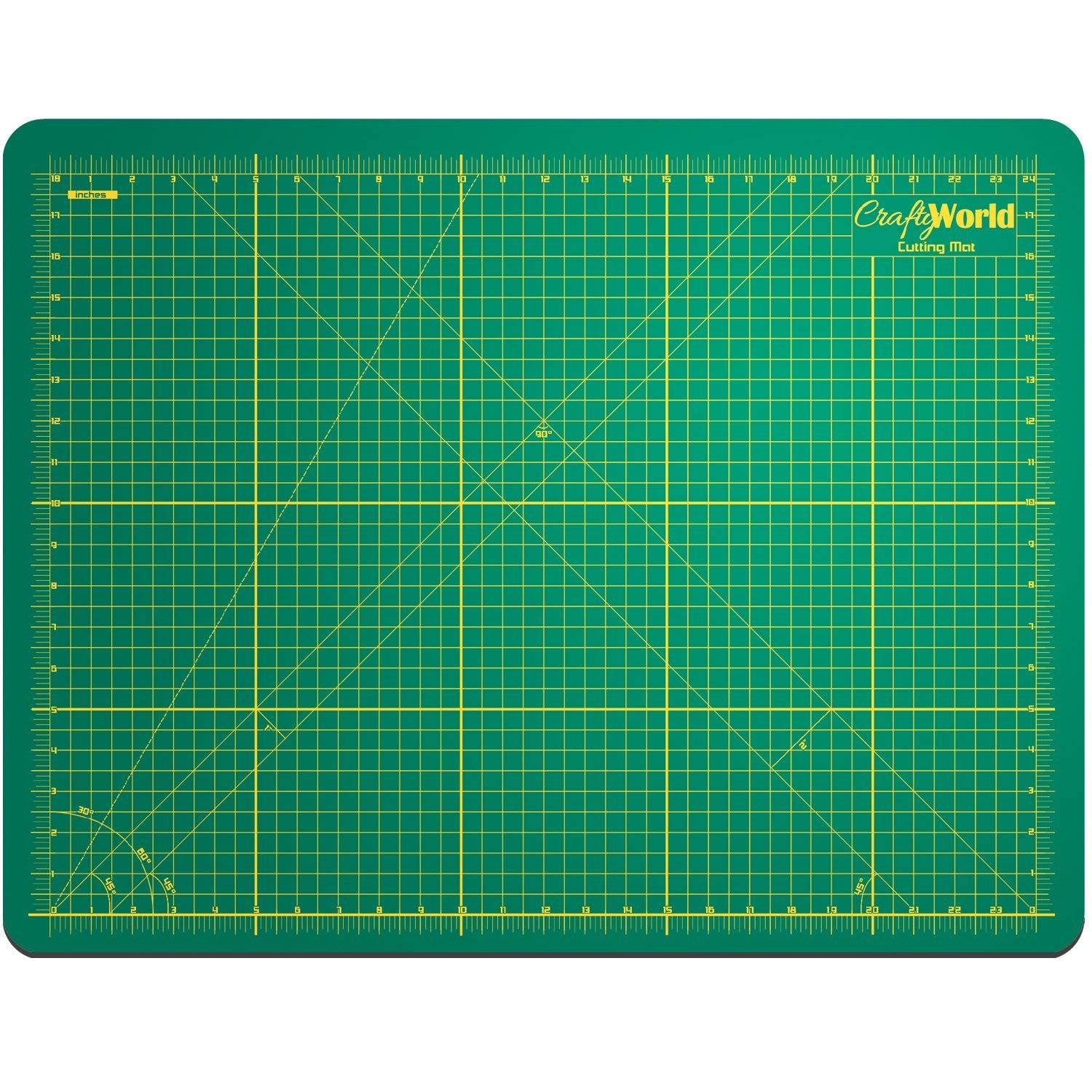 Crafty World Deluxe Cutting Mats - Double Sided Used by Pro Hobbyists - Self Healing Cutting Mat - Doesn't Slip, Extra Long Lasting & Easy to Read Markings - 18 x 24 Inches by Crafty World