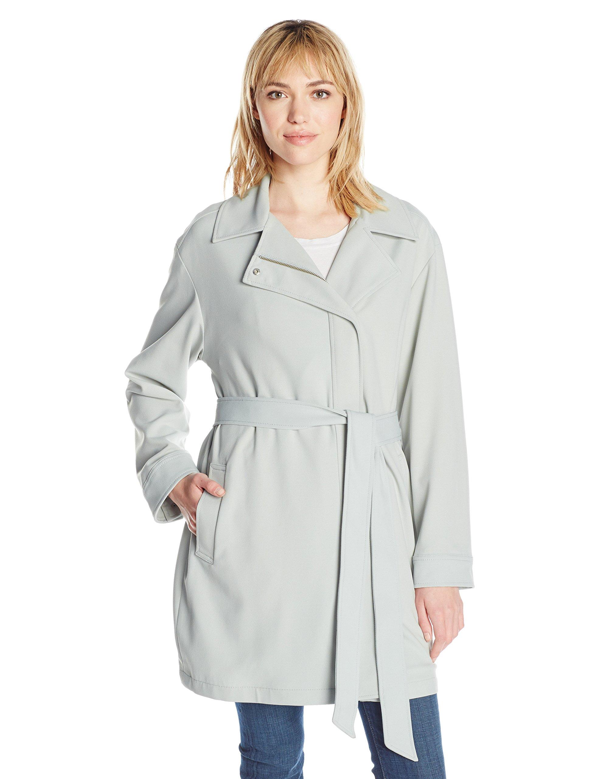7 For All Mankind Women's Asymmetrical Fashion Drape Trench Coat, Coastal Grey, XL
