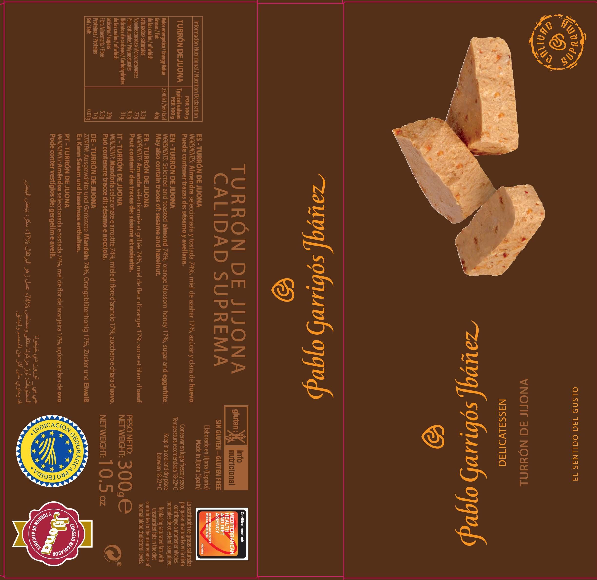 Pablo Garrigos Ibáñez Delicatessen Turron de Jijona (Soft Almond Turron) 10.5 oz (300 grm) (Pack of 12) by Pablo Garrigos Ibáñez (Image #2)