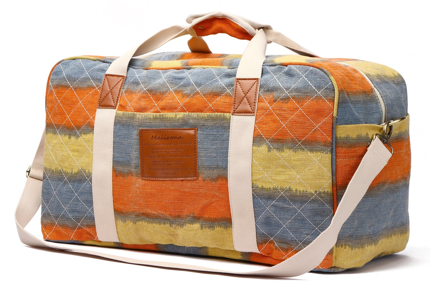 Malirona Canvas Weekender Bag Travel Duffel Bag for Weekend Overnight Trip SD033-Flowers