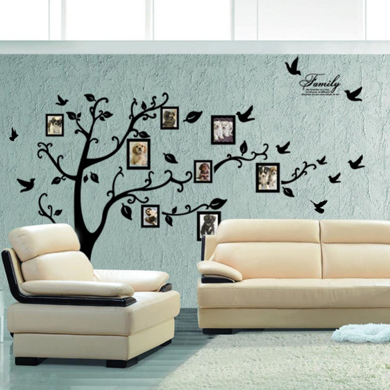 X-Large DIY Family Tree Wall Art Stickers Removable Vinyl Black ...