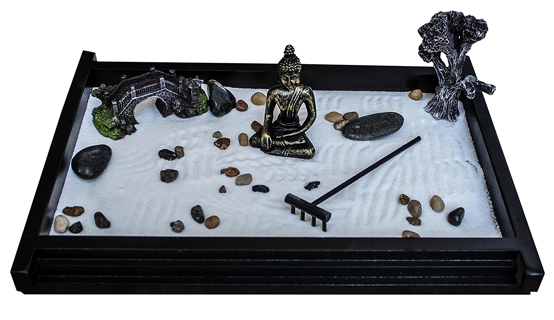 Royal Brands Zen Garden Deluxe Extra Large Desk Meditation Garden - Buddha Statue, Rake, Rocks, Resin Bonsai Tree & Bridge, 2 Bags of Sand Included