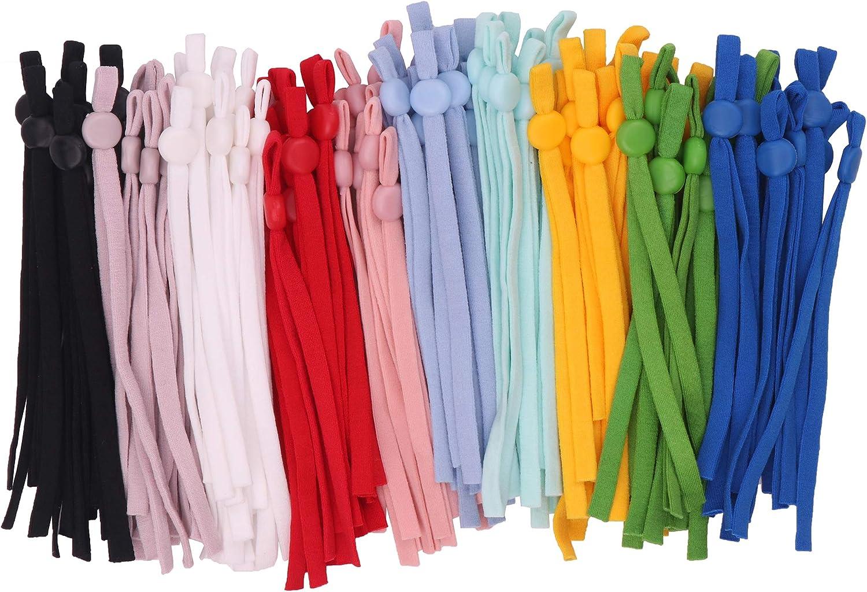 YAKA 100PCS Sewing Elastic Band Cord with Adjustable Buckle Black ...