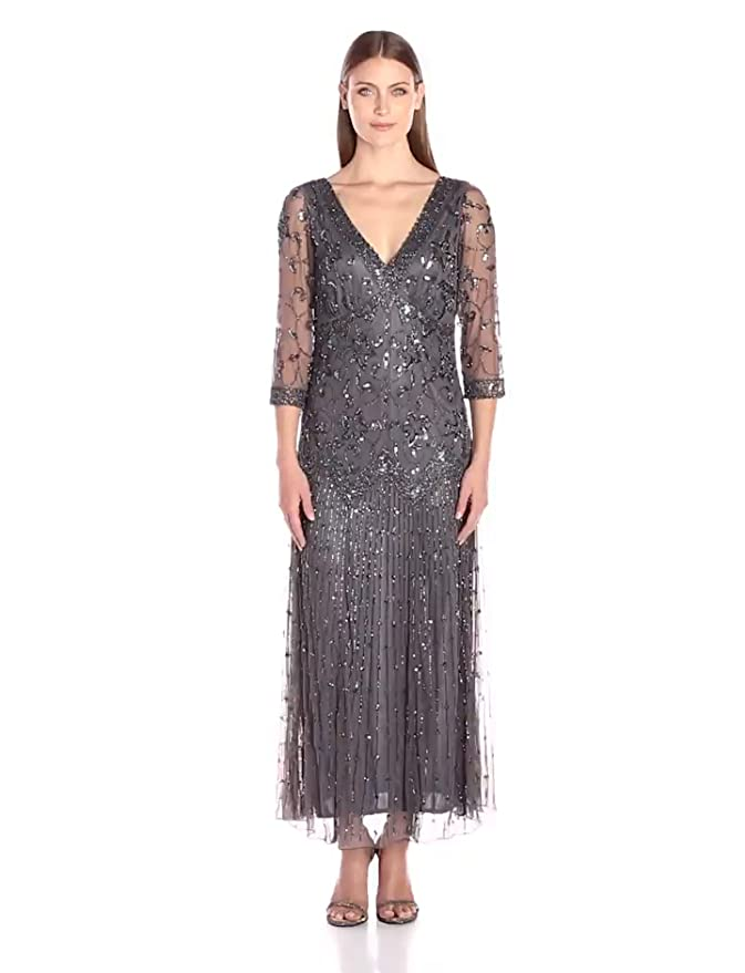 Best 1920s Prom Dresses – Great Gatsby Style Gowns Long Double V Neck Vine Motif Dress $228.00 AT vintagedancer.com