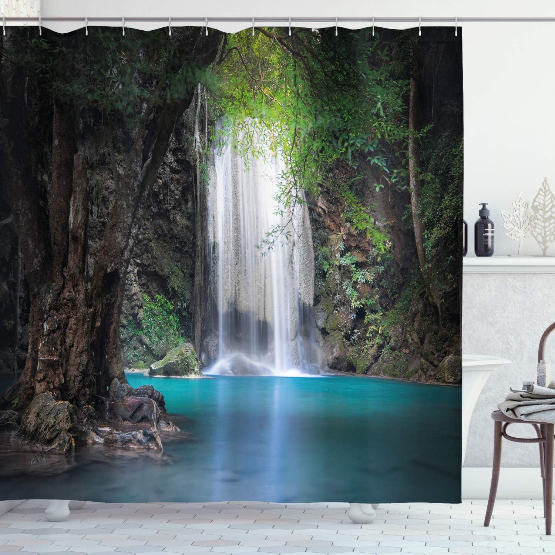 "Green Cliff Waterfall Shower Curtain 72X72/"" Bathroom Polyester Fabric Waterproof"