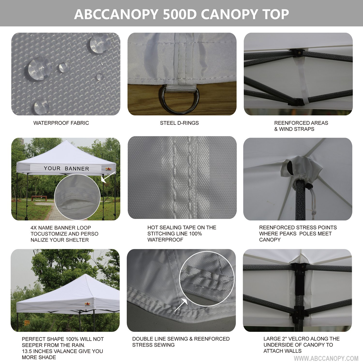Abccanopy Deluxe 10x10 Instant Canopy Craft Display Tent Portable Booth Market Stall with Wheeled Carry Bag , Bonus 4x Weight Bag by ABCCANOPY (Image #5)