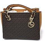 Michael Michael Kors Sofia Brown Acorn MK Signature Medium Tote Bag