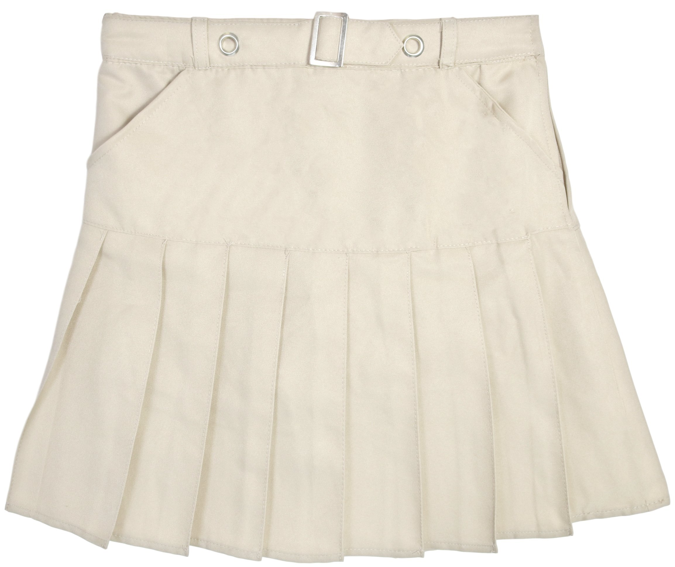 Beverly Hills Polo Club Girls School Uniform Belted Double Pleat Scooter, Khaki, Size 7'