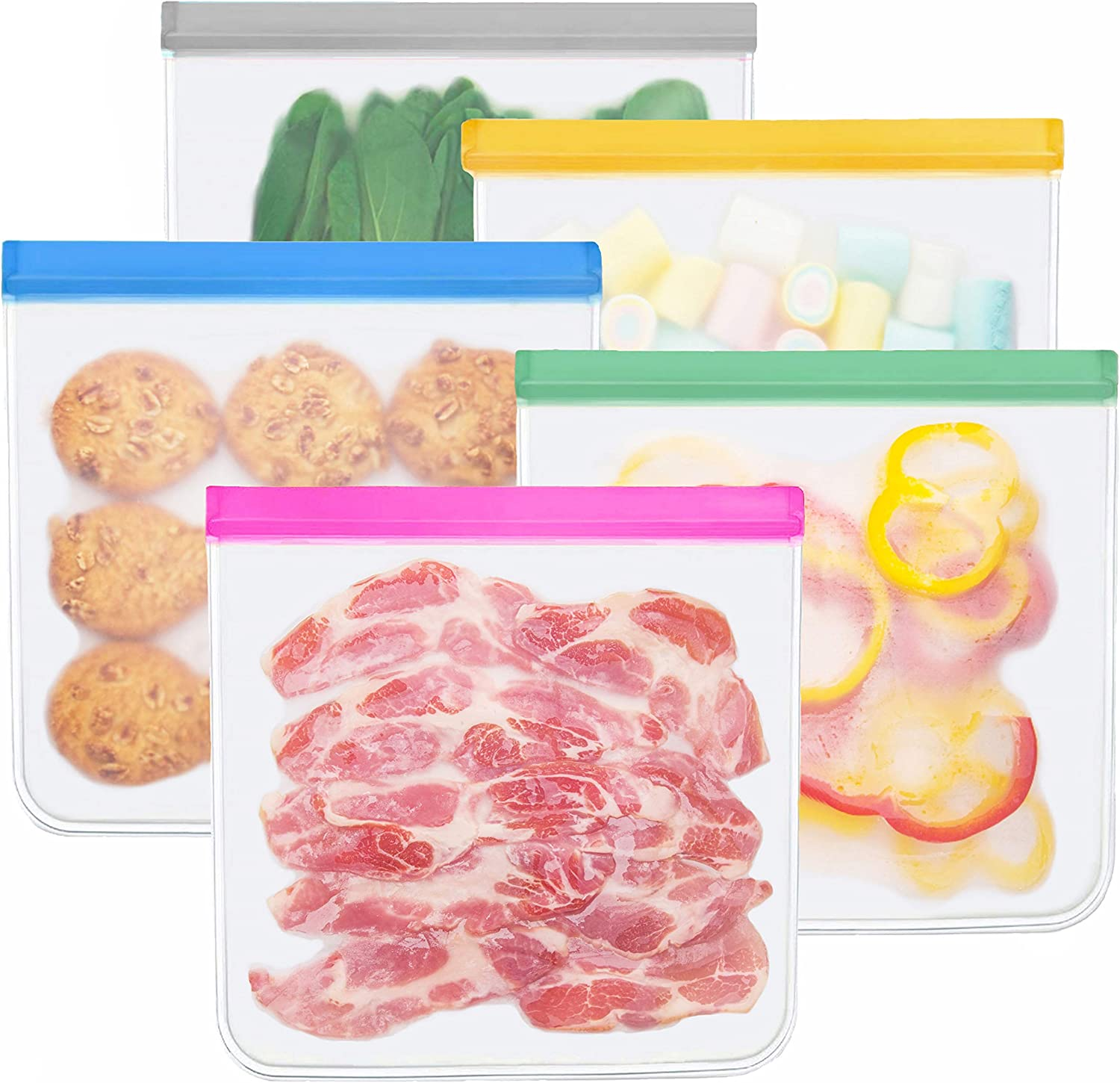 Reusable Gallon Storage Bags - 5 Pack BPA Free Food Bag Reusable Sandwich Bags Storage Bags Containers Plastic Conteiner Freezer Size Zip Snack Lunch Sous Vide for Marinate Meats Fruit