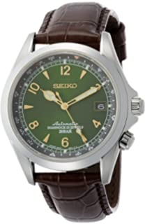 5a6a5d1d61b Seiko Men s Stainless Steel Japanese-Automatic Watch with Leather Calfskin  Strap