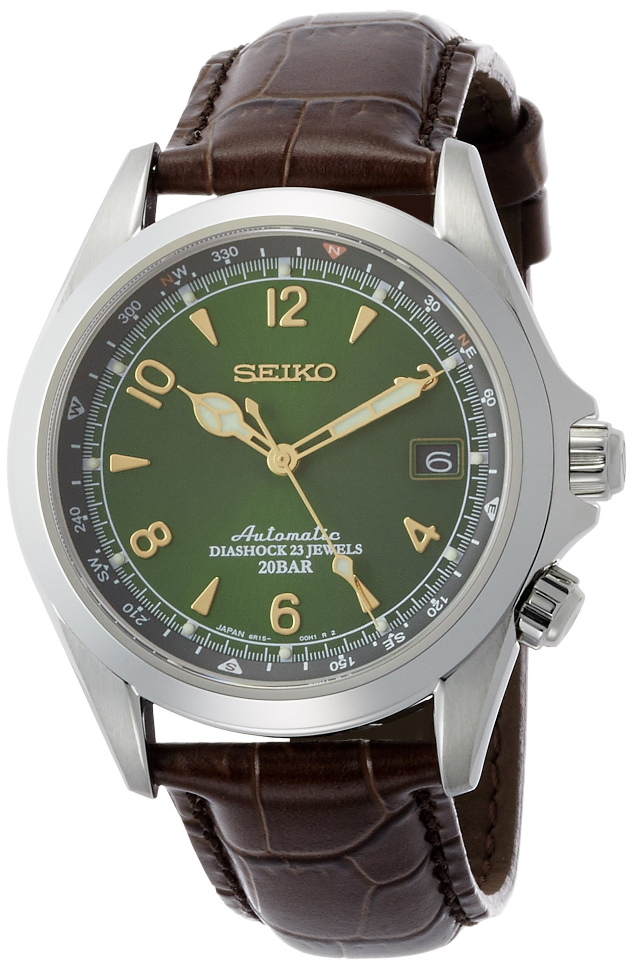 Seiko Men's Stainless Steel Japanese-Automatic Watch with Leather Calfskin Strap, Brown, 20 (Model: SARB017) by SEIKO