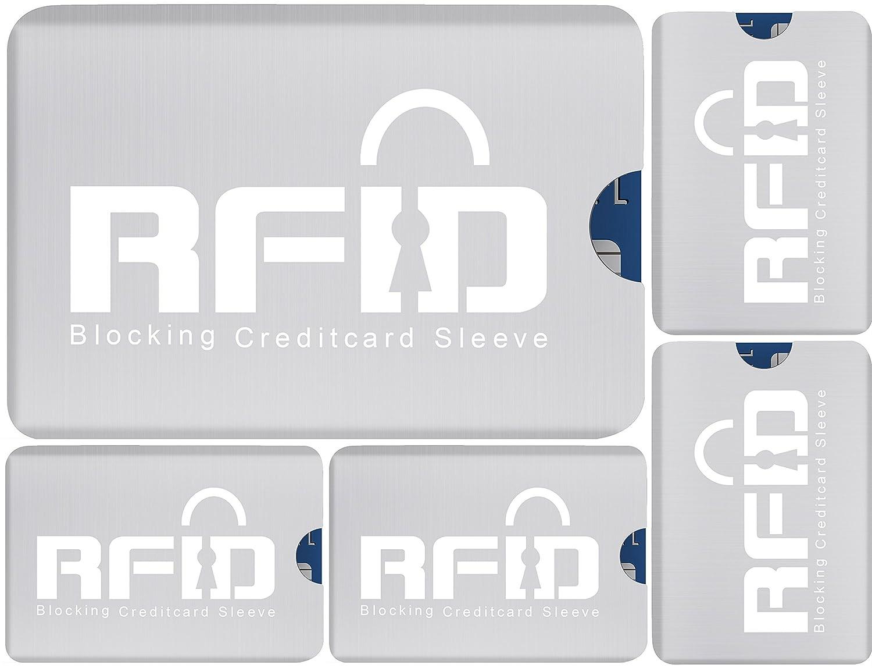 RFID con seguridad metálico tarjeta de crédito Mangas: Conjunto de 5 Los titulares de tarjetas; Ultrafino y diseño flexible que se adapta a todos los ...