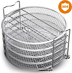 Nenazzz Dehydrator Rack Stainless Steel Stand Accessories Compatible with Instant Pot Air Fryer Crisp Lid 6 Quart