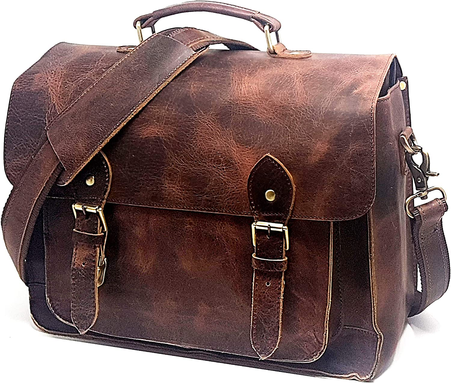 Full Grain Leather DSLR Camera Bag, Multipurpose Real Hunter Leather 15-Inch Briefcase, Shoulder Messenger Satchel Fits 15.6-Inch Laptop with Removable Insert