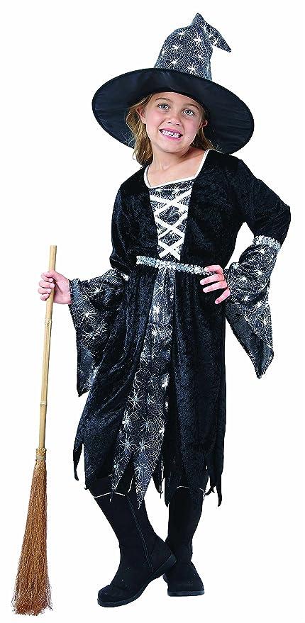 Magicoo Spider costume da strega per ragazza bambini Halloween nero e  argento – Fancy Dress outfit 4bb31c37d2ed