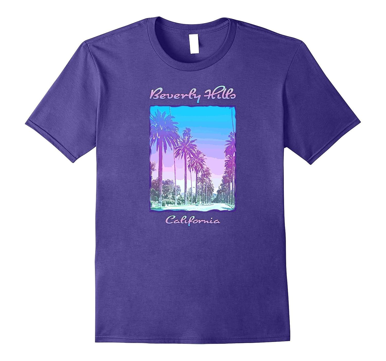Beverly Hills California Palm Trees Colorful Retro T-shirt-Vaci