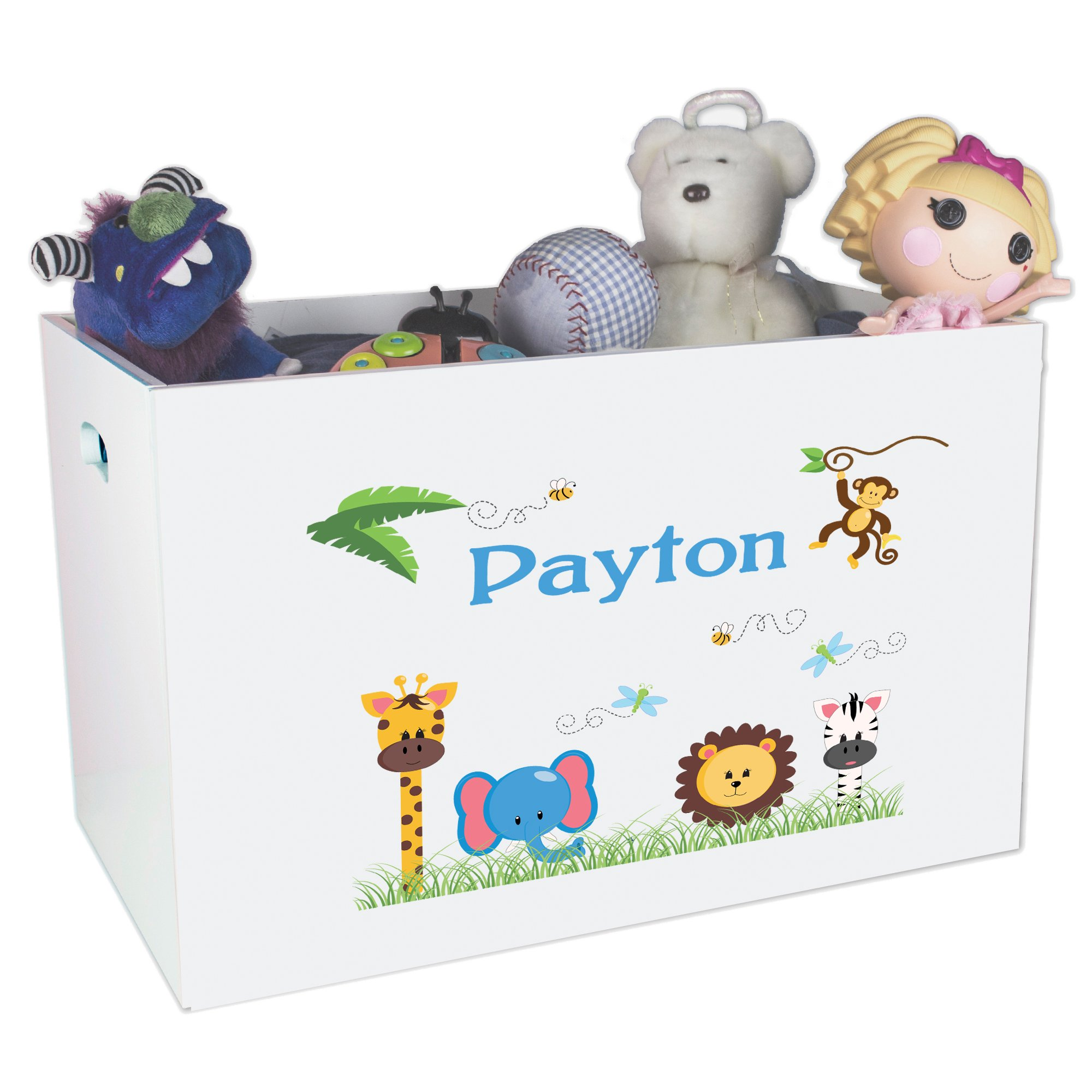 Personalized Animals Boy Childrens Nursery White Open Toy Box