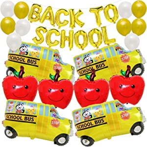 Back to School Decorations Set Large, Pack of 30 | Back to School Balloons | Back to School Balloon Garland Kit | Back to School Car Decorations | Red Apple Balloon Decor | School Decorations for Home