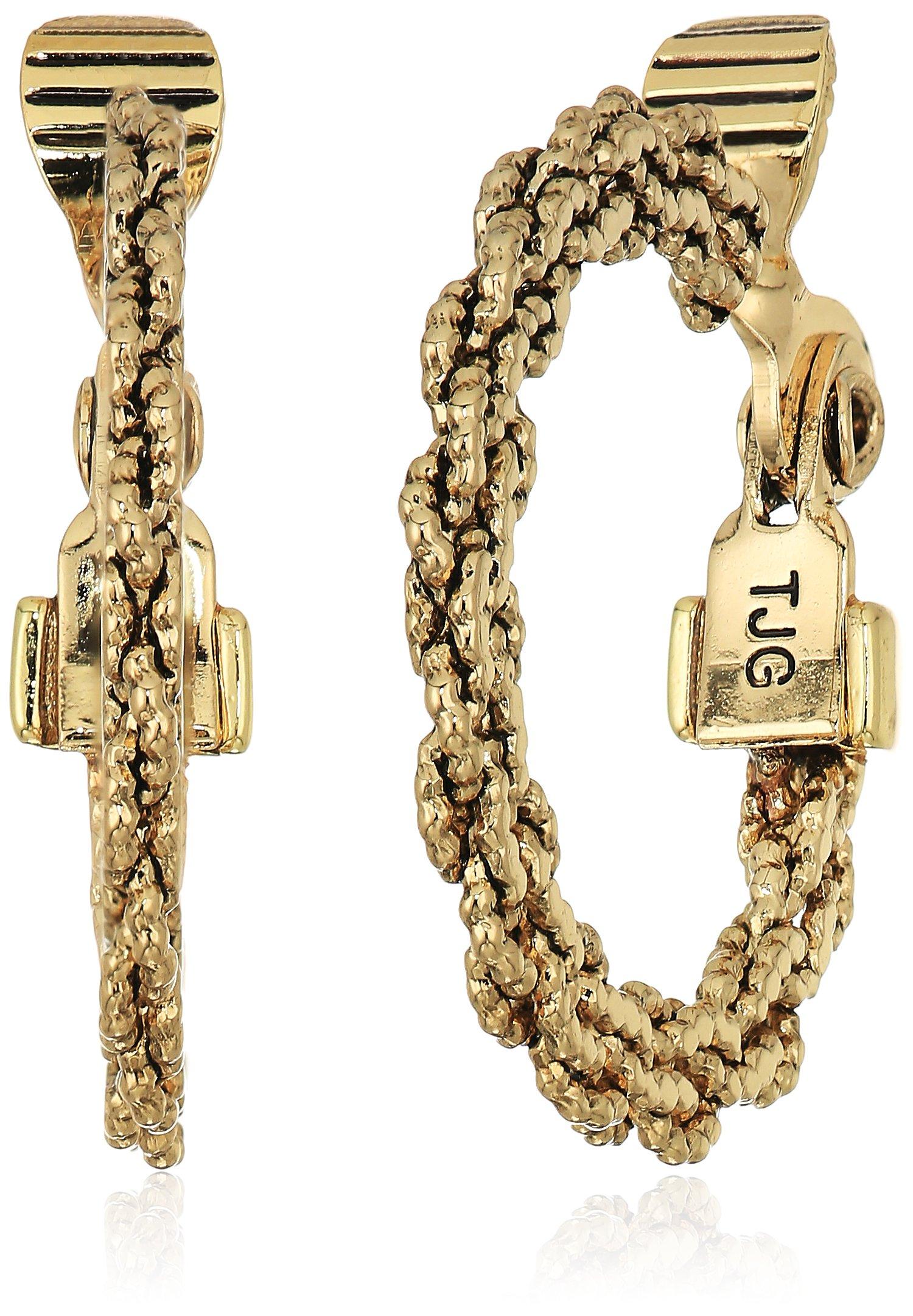 Anne Klein Women's Gold Tone Cable Hoop Clip On Earrings