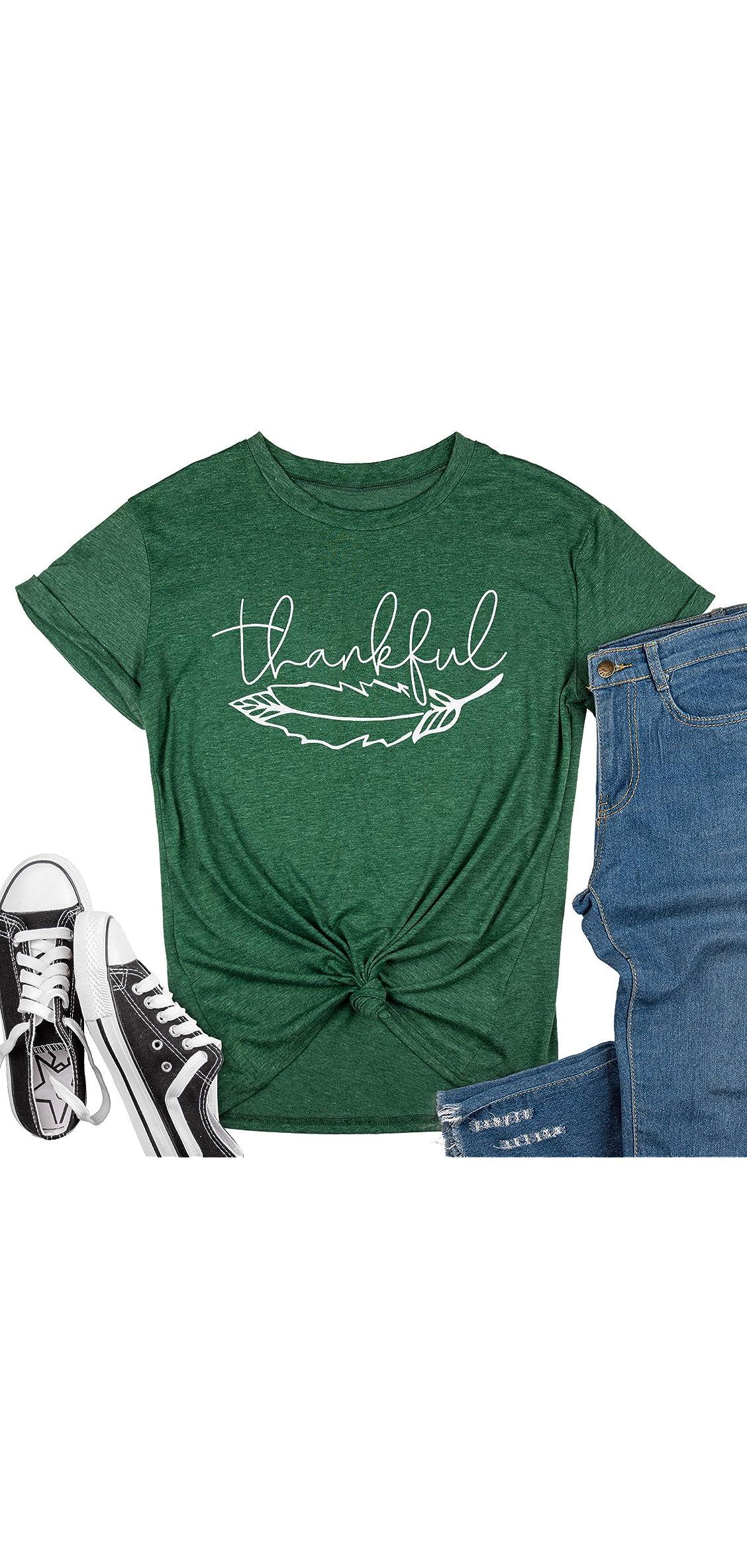 Womens Fall Thankful T-shirt Casual Short Sleeve Tees