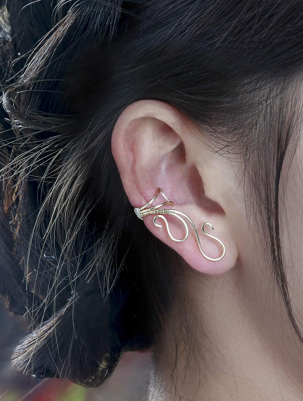 OwMell Ear Cuff No Piercing Ear Cuff Non Pierced Hypoallergenic Earrings Handmade FS-ES21-G Elf Ear Cuffs Earrings