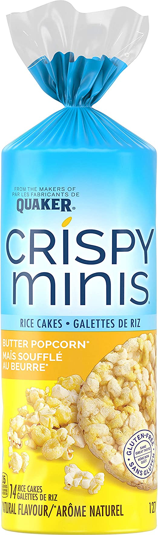 Quaker Crispy Minis Gluten Free Butter Popcorn Flavour Large Rice Cakes 186 G Pack Of 12 Amazon Ca Grocery