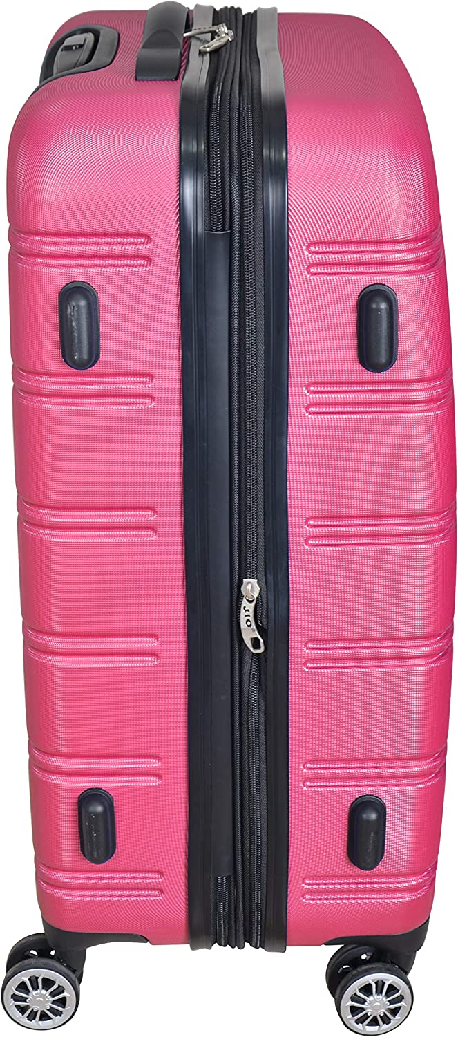 Pink 3Pc Luggage Set Hard Rolling 4Wheels Spinner Upright CarryOn ABS Travel