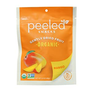Peeled Snacks Organic Dried Fruit, Mango, 2.8 oz., Pack of 4 – Healthy, Vegan Snacks for On-the-Go, Lunch and More