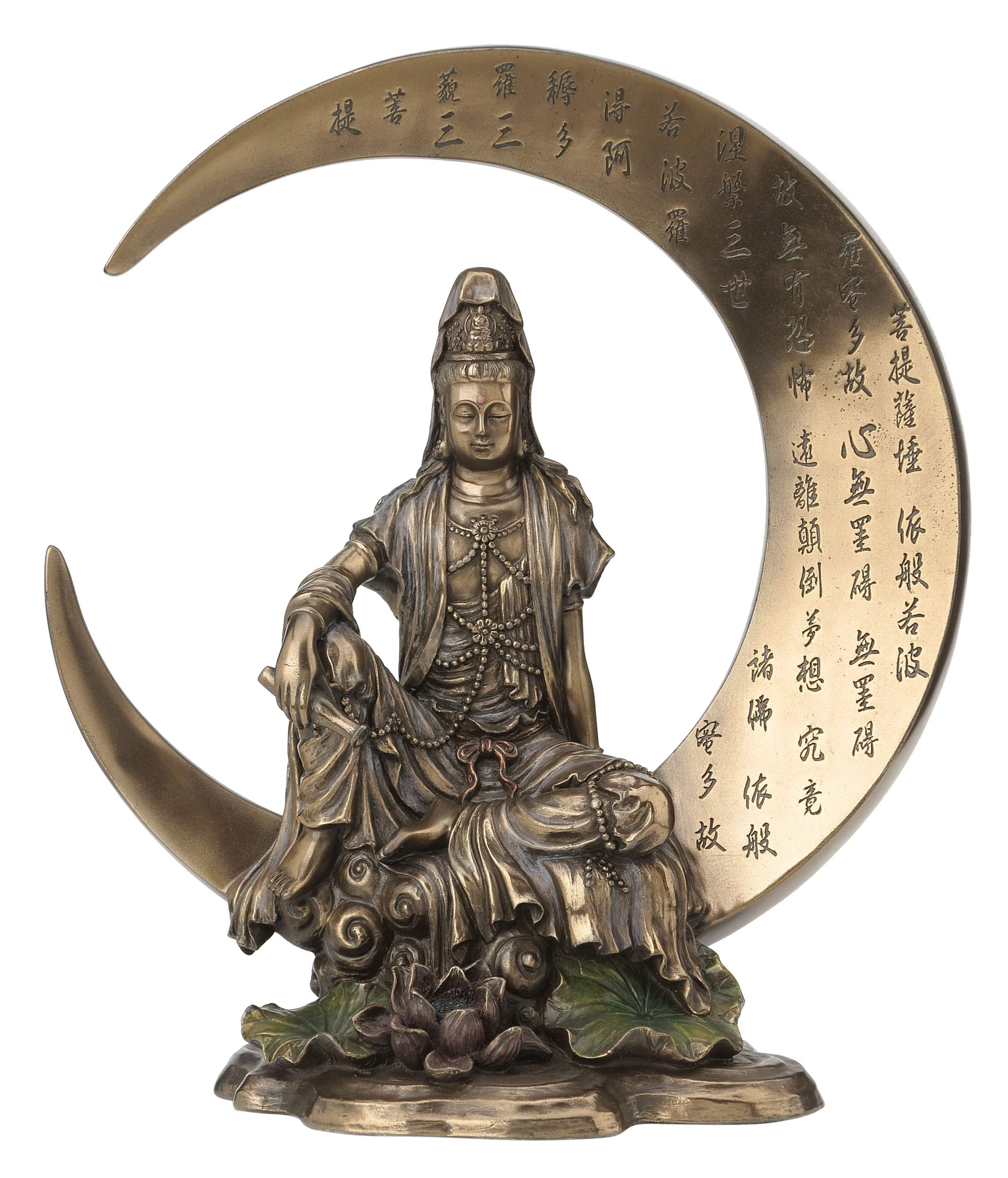 Guan Yin Sitting on Crescent Moon with Heart Sutra Statue Sculpture - Bodhisattva by JFSM INC
