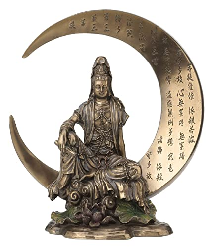 Guan Yin Sitting on Crescent Moon with Heart Sutra Statue Sculpture – Bodhisattva
