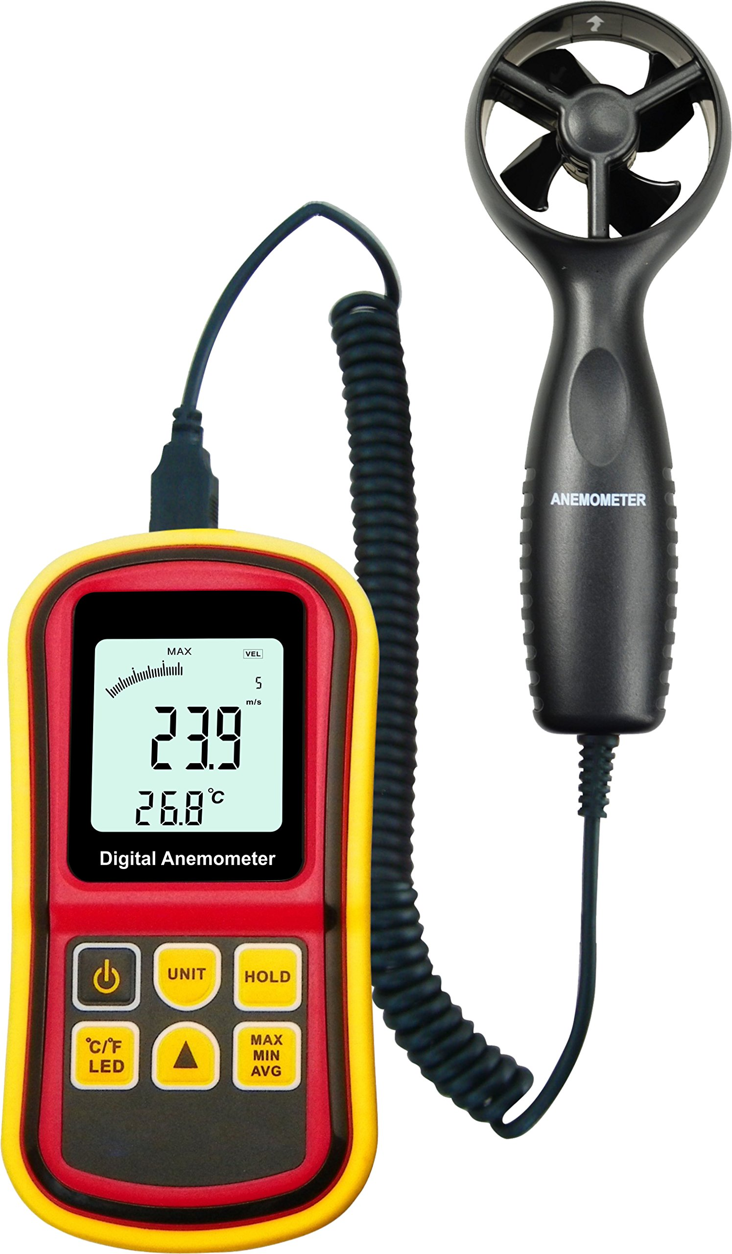 Anemometer 45m/s (88MPH) LCD Digital Thermometer Electronic Hand-held Wind Speed Gauge Meter 8901BZ
