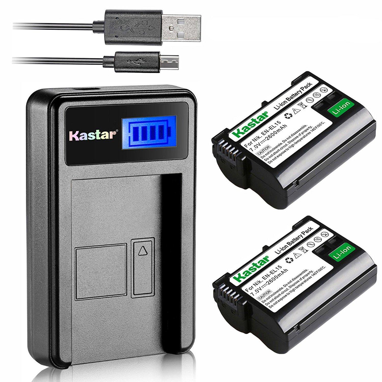 Kastar Battery (X2) & LCD Slim Charger for Nikon EN-EL15, ENEL15 and Nikon 1 V1, D500, D600, D610, D750, D800, D7000, D7100, D800, D800E DSLR Camera, Grip MB-D11, MB-D12, MB-D14, MB-D15, MB-D16