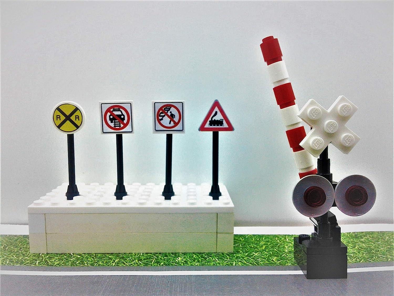 Building Bricks Toys Custom  City/Town/Village Train Railroad Crossing  Signals Crossing Gates 4 Railroad signs